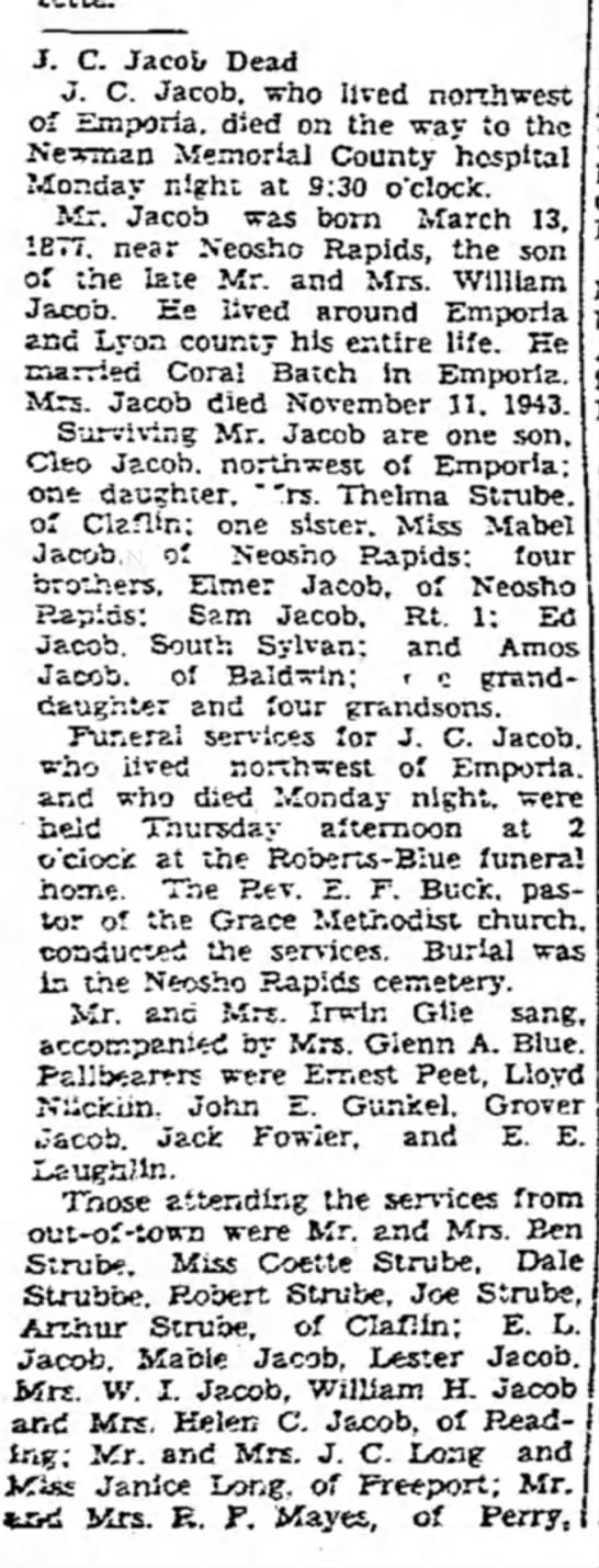 Joseph Carl Jacob Obit - J. C. Jacob Dead J. C. Jacob, who lived...