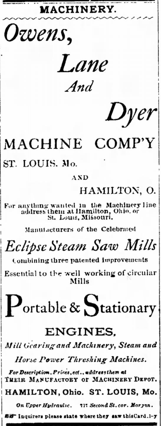 Owens Lane Dyer Ad in The Hamilton Examiner 29 April 1875 - renders all ' place influence i | a man- | as...