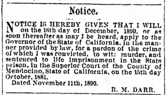 R M Darr 1890p - Notice. VOTICE IB HEREBY GIVEN THAT I WILL 1.1...