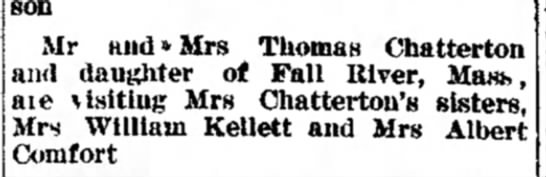 Chatterton Kellet Comfort - were son Mr and*Mrs Thomas Chatterton and...