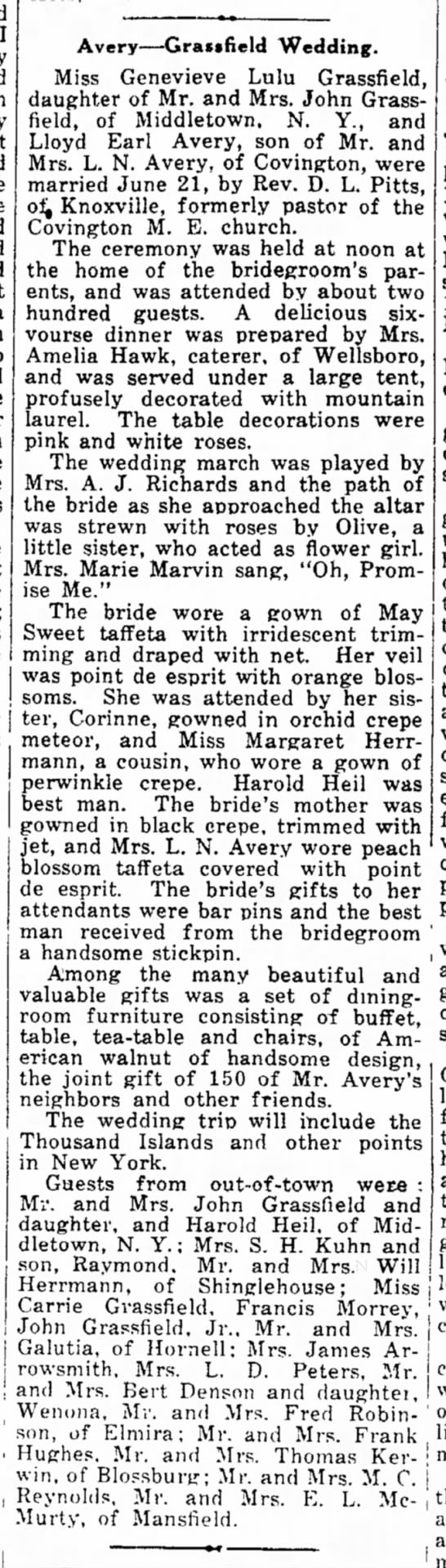 Avery-Grassfield Wedding June 21, 1922 - I thirty the found lot a off in to had large...