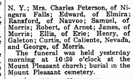 M.C.Campbell 16Nov192 - N. Y.; Mrs. Charles Peterson, of Niagara Falls;...