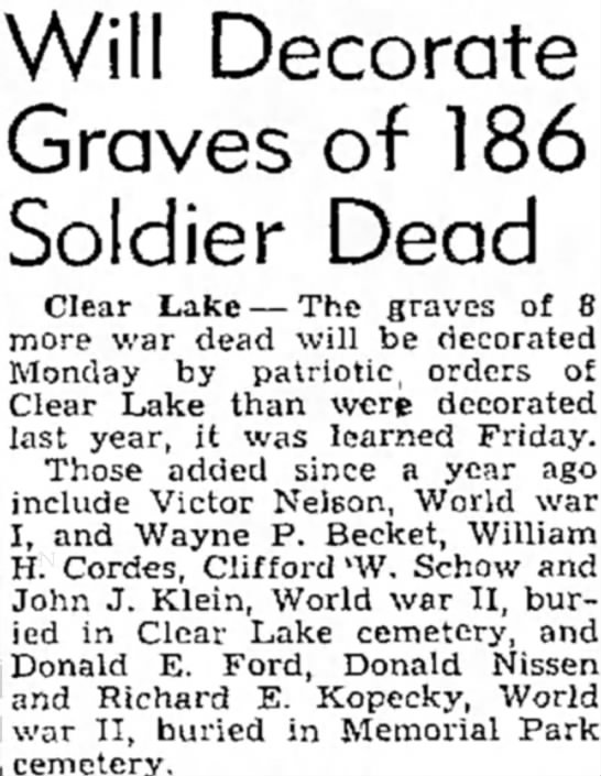 Clifford Schow - Will Decorate Graves of 186 Soldier Dead Clear...