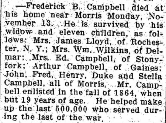 FredBCampbellObit 29Nov1916 - few the --Frederick B Campbell (3ied at his...