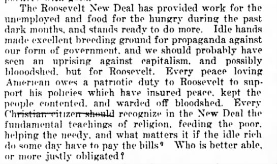 New Deal opinion - Bouli. ^ ^^ ^ The Roosevelt New Deal has...