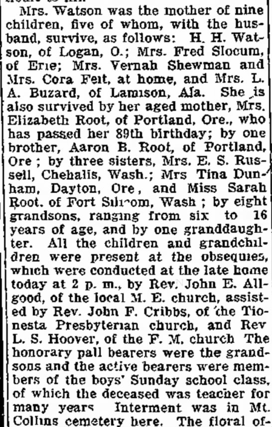 Anna Watson's posterity - a car Mrs. Watson was the mother of children,...
