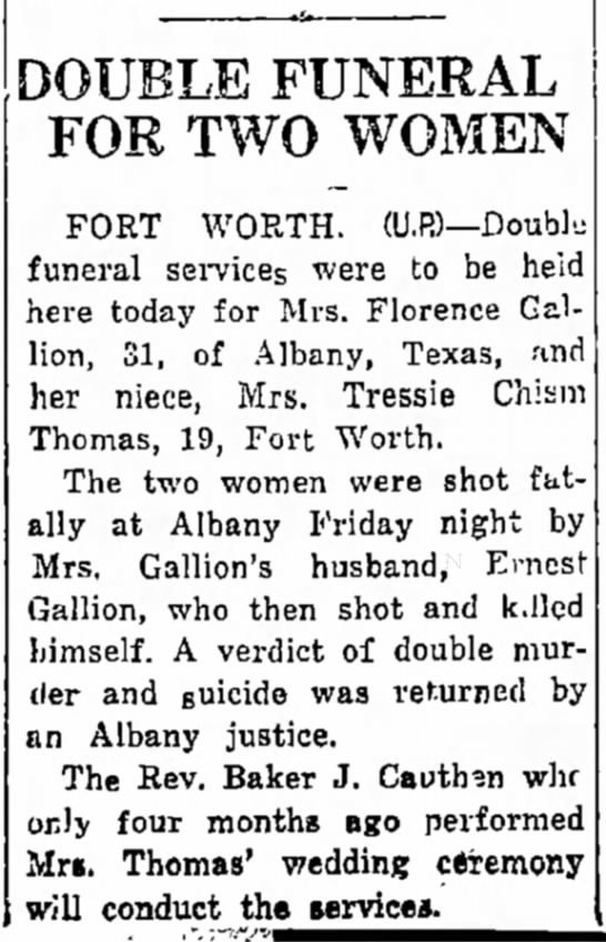 - years DOUBLE FUNERAL FOR TWO WOMEN FORT WORTH....