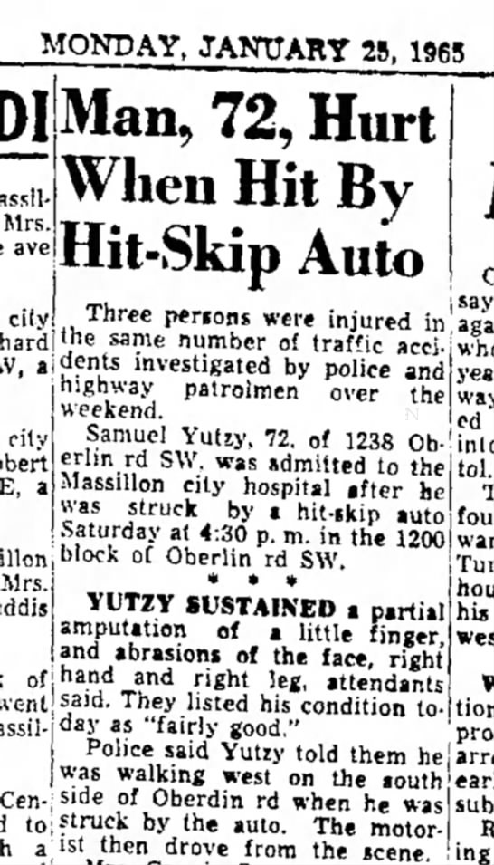 Samuel Yutzy hit and run - MONDAY, JANUARY 25, 1965 M Mrs. ave ciiy an,...