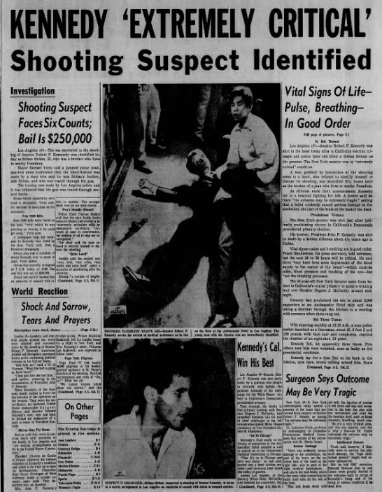 Robert F. Kennedy in critical condition after shooting - W MW 'HfflE nn M EDf ffl Investigation Shooting...