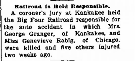 Genevieve Rabig accident - resul o a Railroad Is Held Responsible. A...