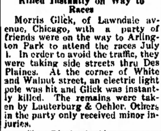 morris glick july 8 1930chicago, illinois - Â«nd 77th returned Races Morris Glick, of...