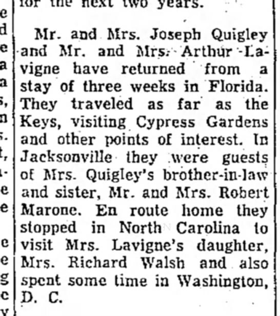 - Mr. and Mrs. Joseph Quigley and Mr. and...