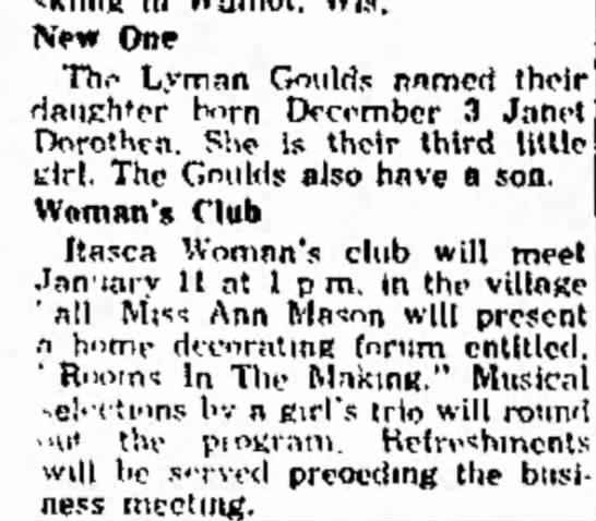 Lyman and Dorothy Gould, daughter's birth announcement. - New One Thp Lyman Goulds named their Hatieh'er...