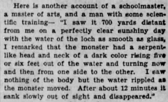 The Monster of Loch Ness - Here is another account of a schoolmaster, a...