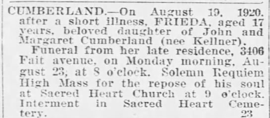 - CUMBERLAND. On August 10. 1920. after a short...