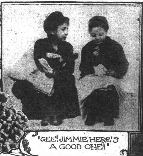 """Kids eating chestnuts - GEE! tJJPlMlS'HERE.'S"""""""