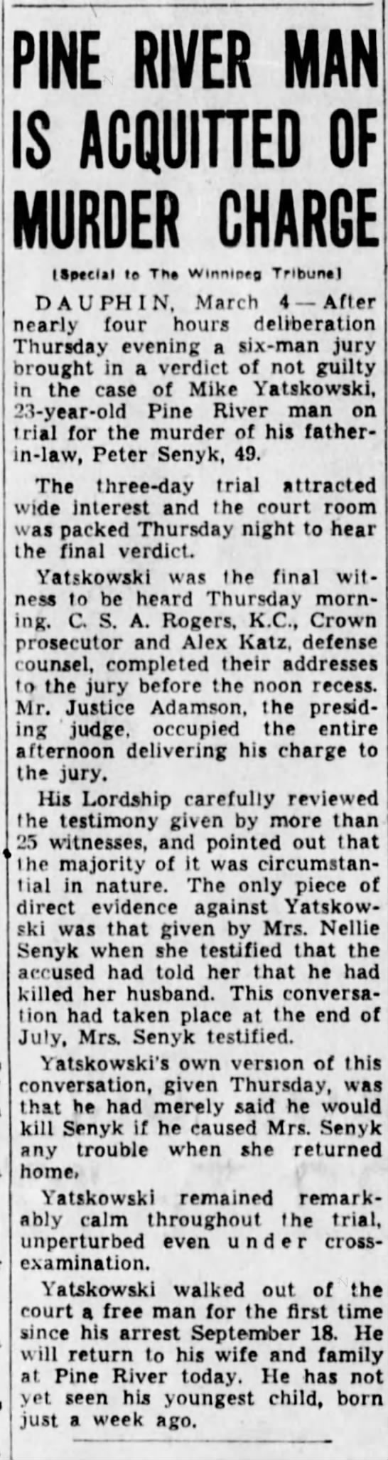 march 4 1938 b - PINE RIVER MAN IS ACQUITTED OF MURDER CHARGE...
