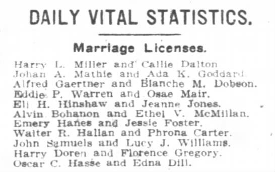 Bohanon McMillan Marriage License - DAILY VITAL STATISTICS. Marriage Licenses....