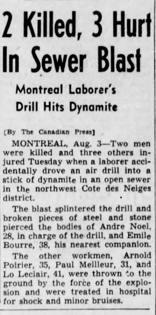 Emile Bourre Death Notice- 3 Aug 1938 - 2 Killed, 3 Hurt In Sewer Blast Montreal...