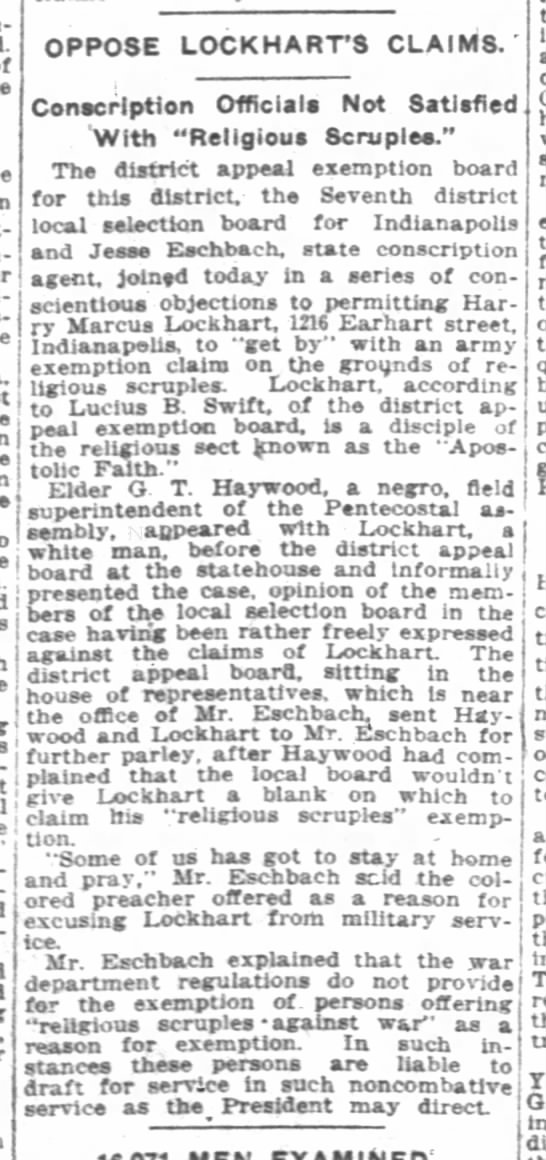 The Indianapolis News 6 Aug 1917 p14 G T Haywood w district draft appeal - - OPPOSE LOCKHARTS CLAIMS.' . .Jm T - 1. I t...