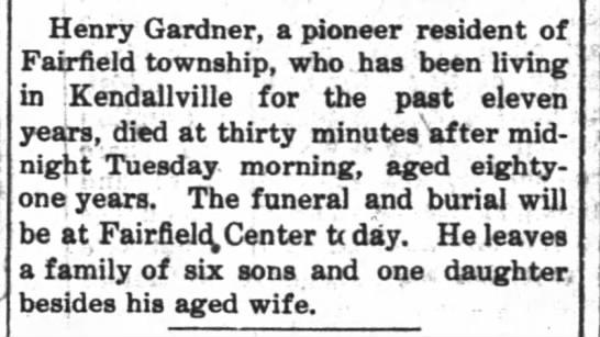 GARDNER, Henry obit. - Henry Gardner, a pioneer resident of Fairfield...