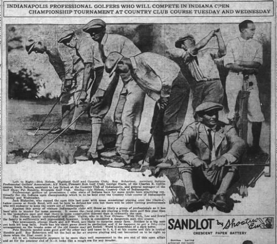 Indianapolis Professional Golfers who will Compete in Indiana Open, Indianapolis News, 9 Jun 1923 - INDIANAPOLIS PROFESSIONAL GOLFERS WHO WILL...