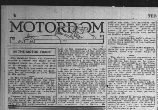 Dunnebacke - THE IN THE MOTOR TRADE' The Oakfand Motor Car...
