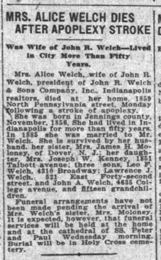 WELCH, Alice Callan 1856-1925_Obituary - inlney. of Dovtr'( N. j.: h.r daugh - Mrs....