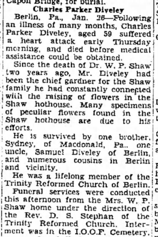 Charles Parker Diveley died 1935 - Capon Bridge, for burial. Charles Parker...