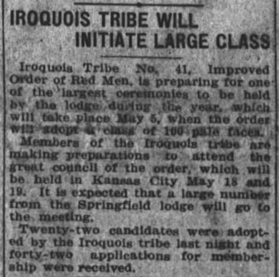 Iroquois Tribe adopts a class of 100 pale faces Apr 4 1920 - IROQUOIS TRIBE WILL - t INITIATE LARGE CLASS...