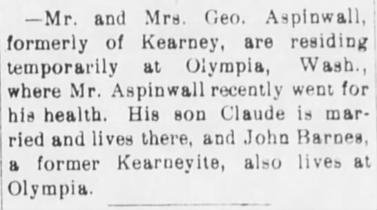 The Kearney Daily Hub - Kearney, Nebraska - Thursday, May 16, 1901 - Page 3 - Column 3 - Mr. and Mrs. Geo. Asplnwall, : formerly of...
