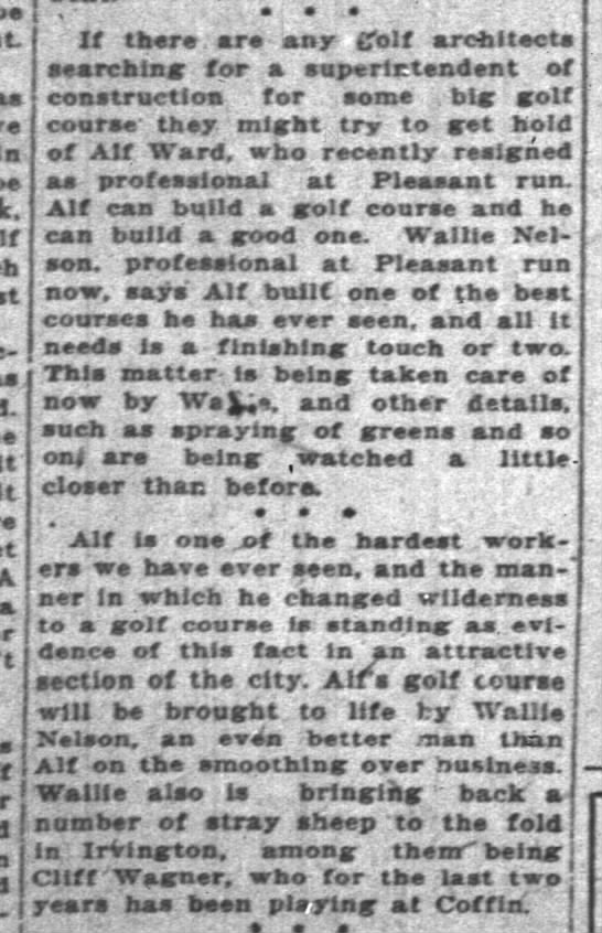 "Alf Ward Resigns as club pro 3 Jun 1925 - be It A a Mdl""'"" e ' . w v If thereare - any..."