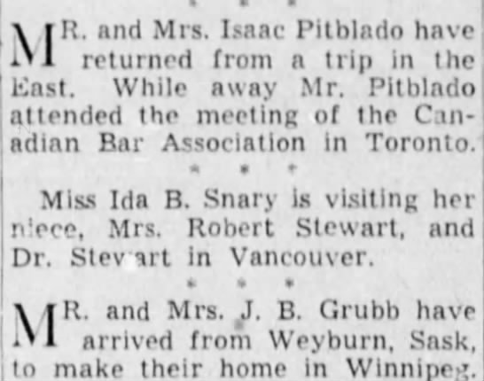 Winnipeg Tribune, 16 Sept 1941, Page 8, News of Social Activities. - ifi. and Mrs. Isaac Pitblado have returned from...