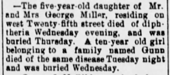 The Kearney Daily HubKearney, NebraskaOctober 15, 1903Page Two, Column Three - Tbe five - year - old daughter of Mr and Mrs...
