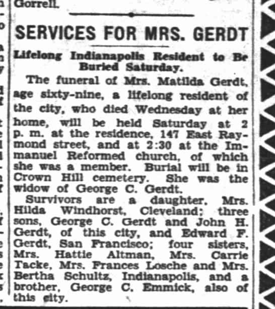 - OorrelL SERVICES FOR MRS. GERDT Lifelong...