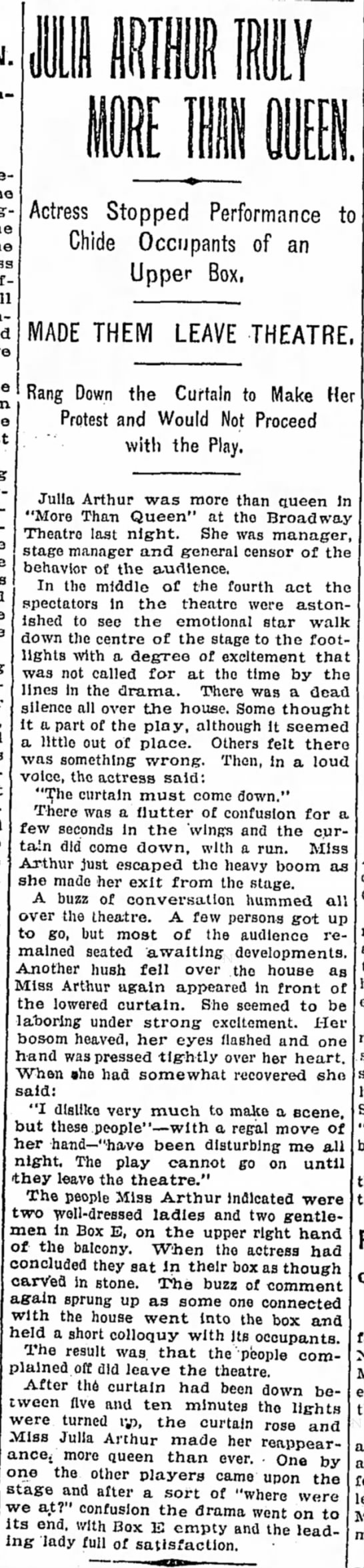 julia arthur play - Actress Stopped Performance to Chide Occupants...