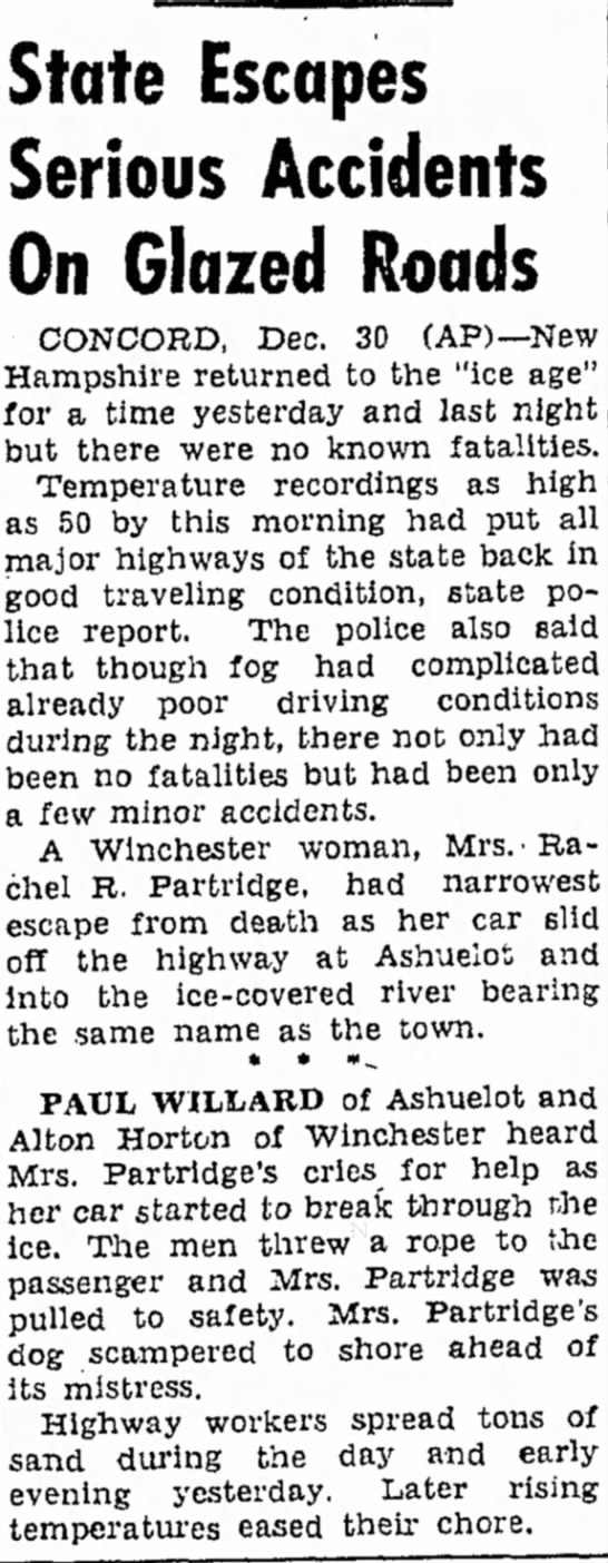 Rachel R. Partridge of Winchester car crash - State Escapes Serious Accidents On Glazed Roads...
