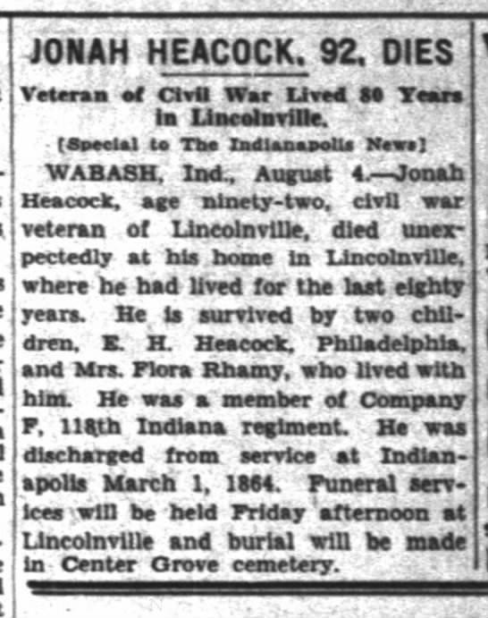 Jonah Heacock Civil War vet - JONAH HEACOCK. 92, DIES Vetera of Ovtt War...