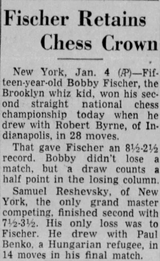 Fischer Retains Chess Crown - Fischer Retains Chess Crown New York, Jan. 4...