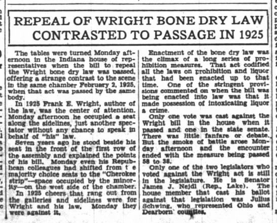 - REPEAL OF WRIGHT BONE DRY LAW CONTRASTED The...