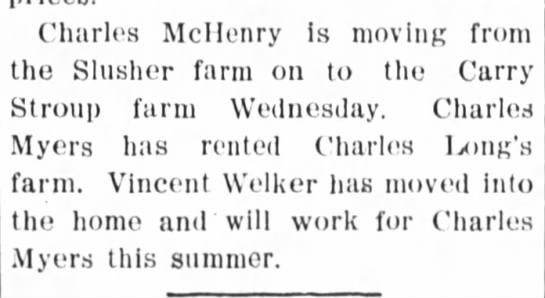 8 March 1907 welker - Charles McIIenry is moving from the Slusher...
