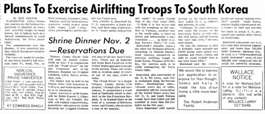 "Red Bluff Daily News (Red Bluff, California) 29 October 1968 Page 1 - local by the ""could 30 Plans To Exercise..."