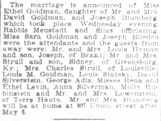 Indianapolis News 27 Apr 1906 p7 col4 - The marriage Is announced of Miss Ethel...