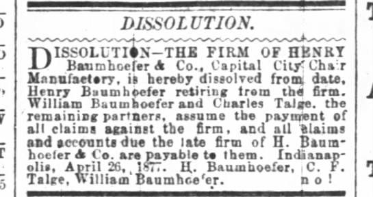 The Indianapolis News 5 May 1877 pg 1 Dissolution-The Firm of Henry Baumhofer & Co.
