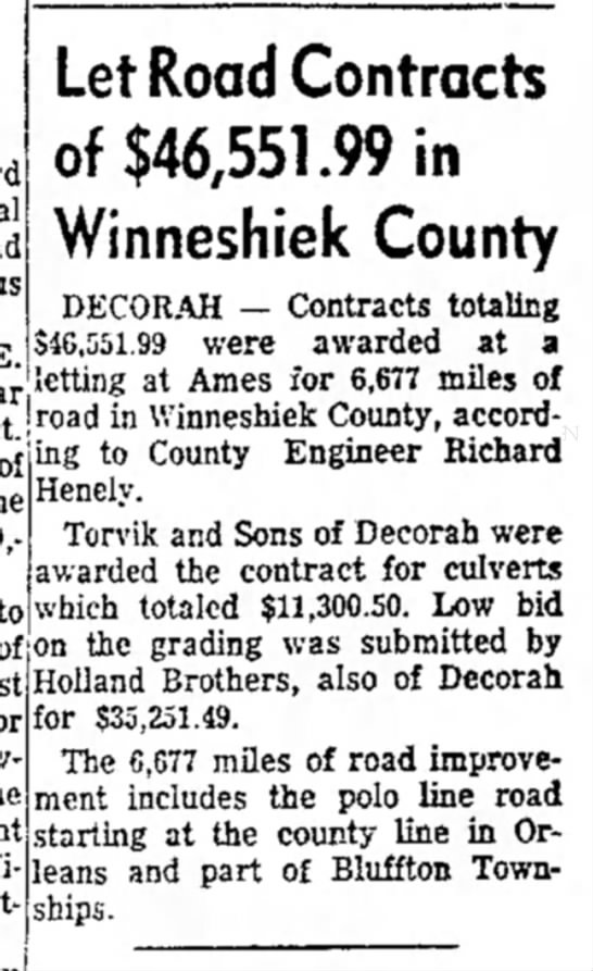 TORVIK - Let Road Contracts of $46,551.99 in Winneshiek...