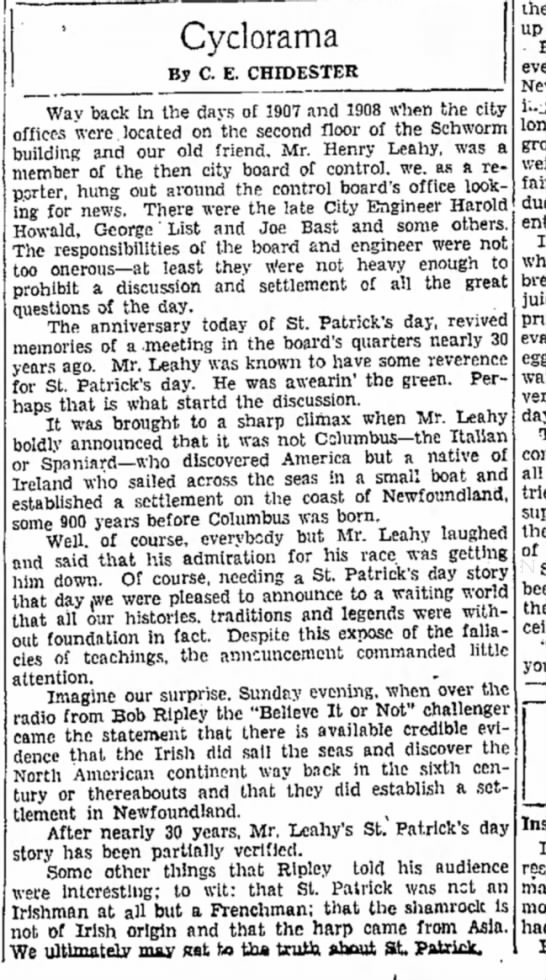 Story in the local paper about my great-grandfather, Henry Leahy, the ultimate Irishman- 17 Mar 1936 - Cyclorama By C. E. CHIDESTER Way back in the...