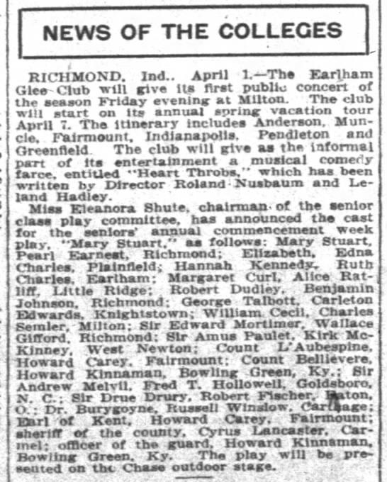 HLC Glee Club 1915 - NEWS OF THE COLLEGES TfMMn?n Ind.. April t. - '...