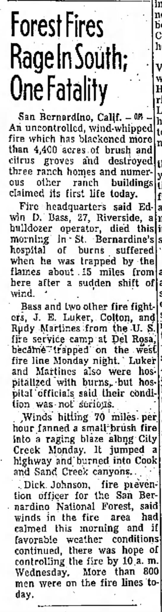 11-20-1956 Edwin D. Bass - Forest Fires Rage In South; One Fatality San...