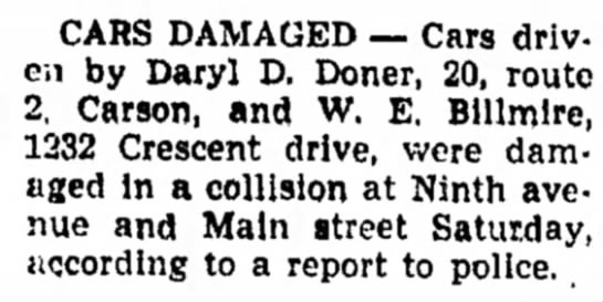 Cars Damaged - Council Bluffs Nonpareil - 29 Jan 1950, page 37 - CARS DAMAGED -- Cars driven by Daryl D. Doner,...