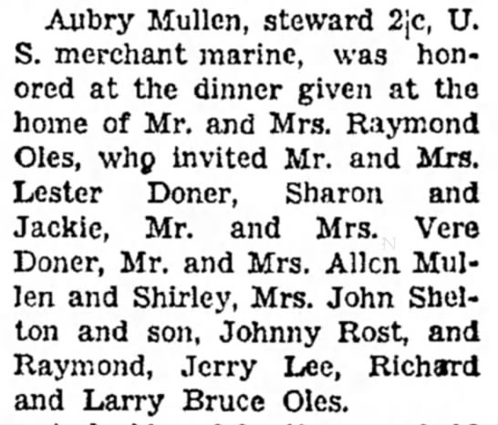 Thanksgiving Day is Noted Here - Council Bluffs Nonpareil - 28 Nov 1943, page 13 - Aubry Mullen, steward 2jc, S. merchant marine,...